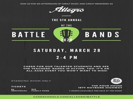 Join us for our annual Battle of the Bands Competition on March 28th from 2-4 PM @ The Pour House.