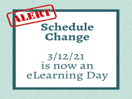 Allegro will be having an eLearning Day on 3/12/21. This is a schedule change.