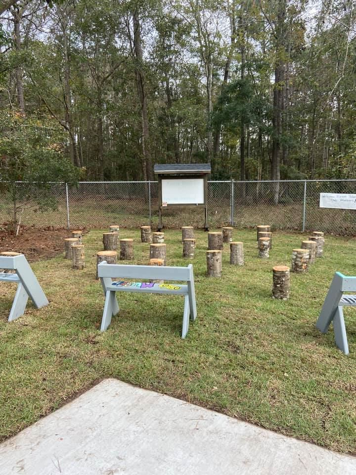 Outdoor seating for an outdoor classroom