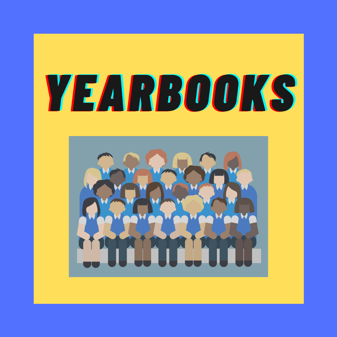 yearbooks. image of a class full of kids in cartoon form, wearing matching uniforms.