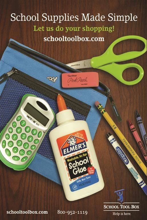 image of school supplies. text: school supplies made simple: let us do your shopping!