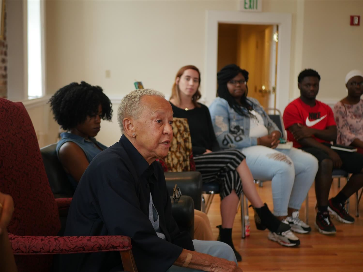 Students with Nikki Giovanni