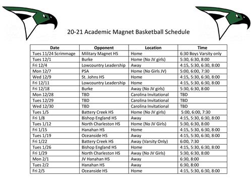 Basketball Schedule 2020