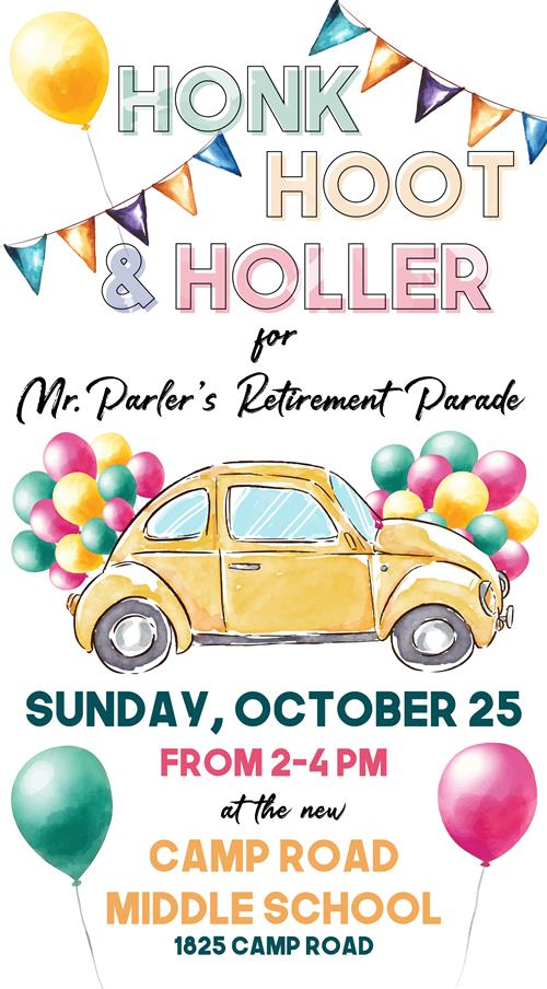 Drive-By Celebration of Mr. Parler Oct. 25, 2 - 4 pm