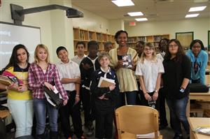 photo of author Sybil Nelson and students