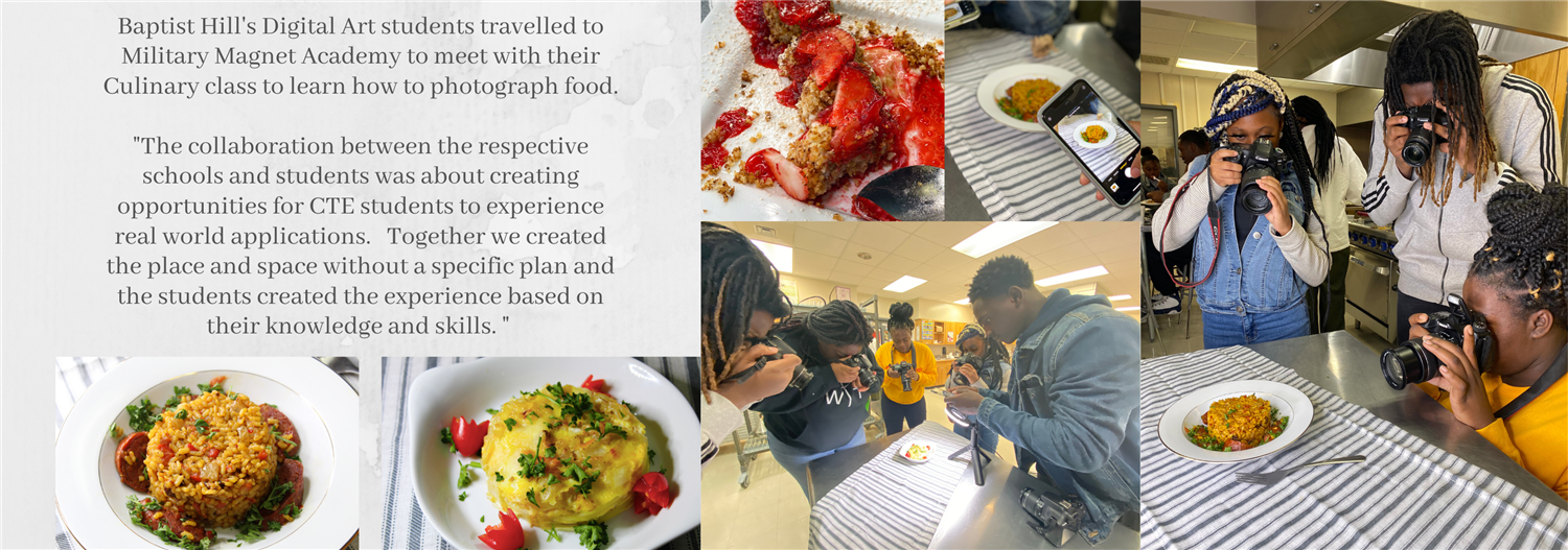 Students photographing culinary at Military magnet