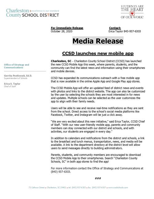 Press release about mobile app