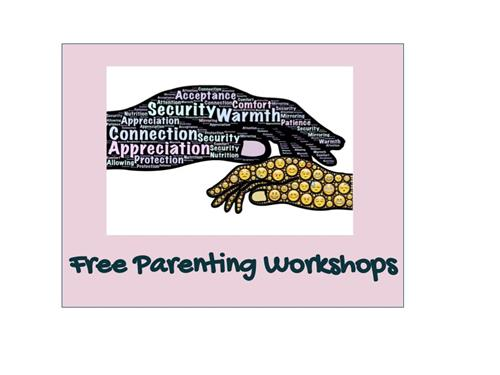 two hands touching with the words parenting workshop underneath