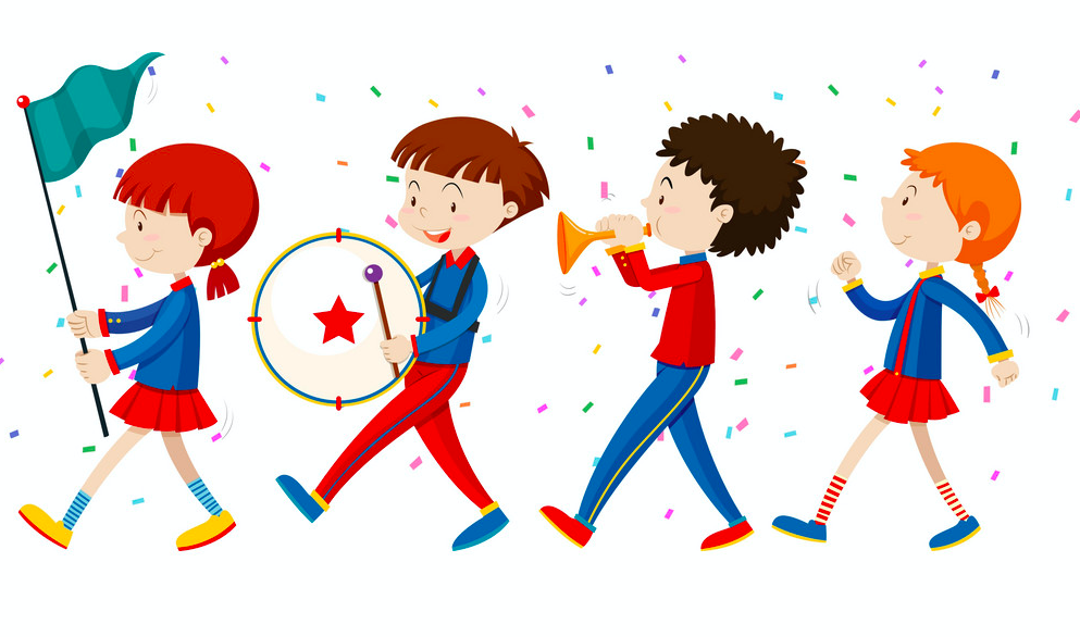 4 children walking in a parade with flags, balloons and instruments