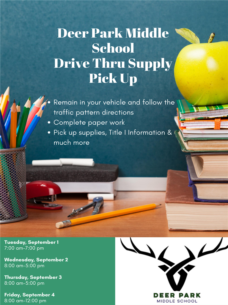 Deer Park Middle School Drive Thru supply pick up announcement picture