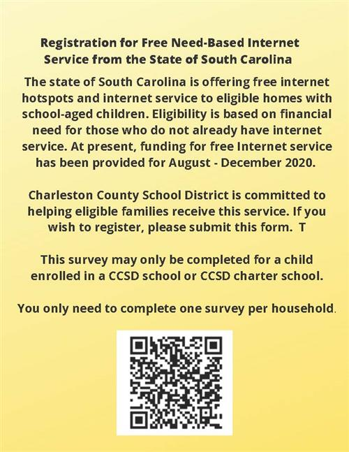 Registration for free need-based internet service from the sate of South Carolina picture