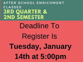 Time to Sign up for After School Enrichment (ASE)