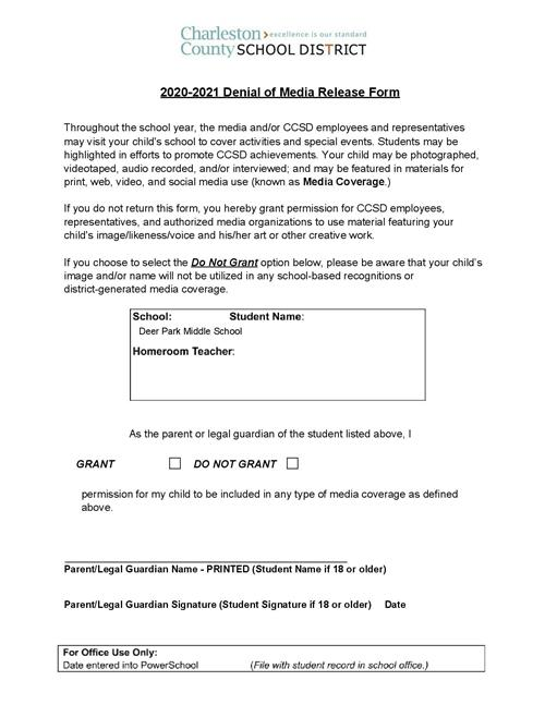 Demial of media release form
