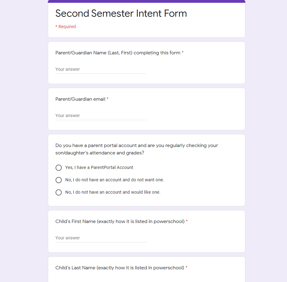 Form for parents to designate their learning mode intent for second semester