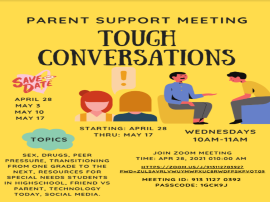 Parent Support Meetings, Wednesdays April 28-May 17