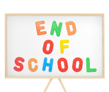 End of School in rainbow colored letters