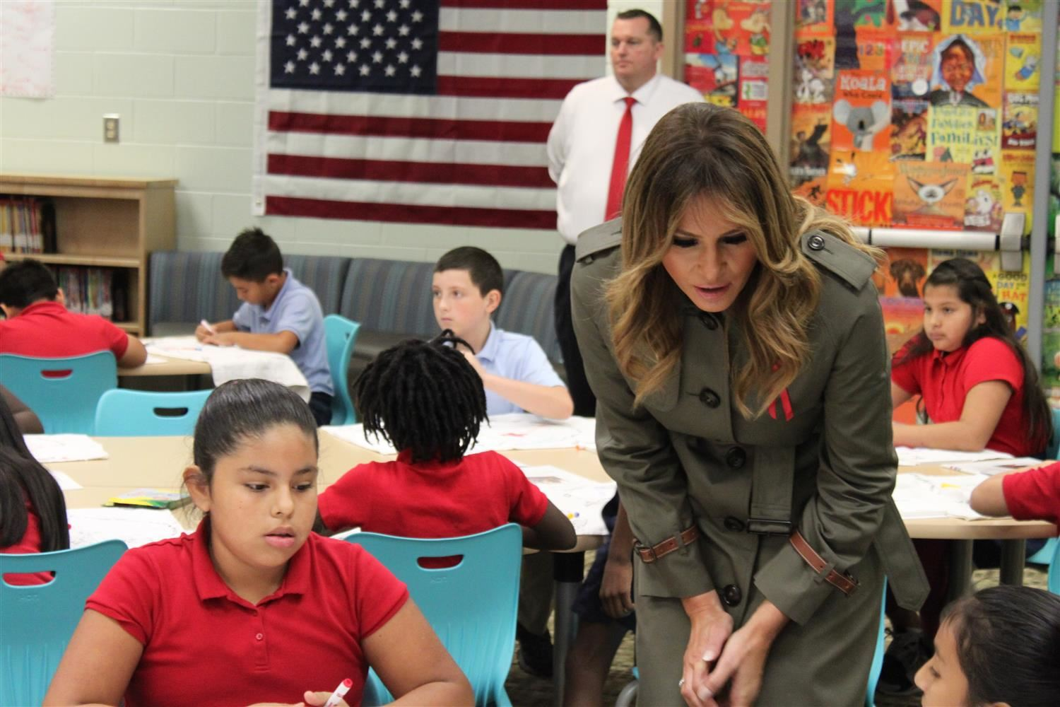 First Lady Melania Trump speaks with students at Lambs Elementary