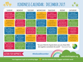 Calendar of kindness events