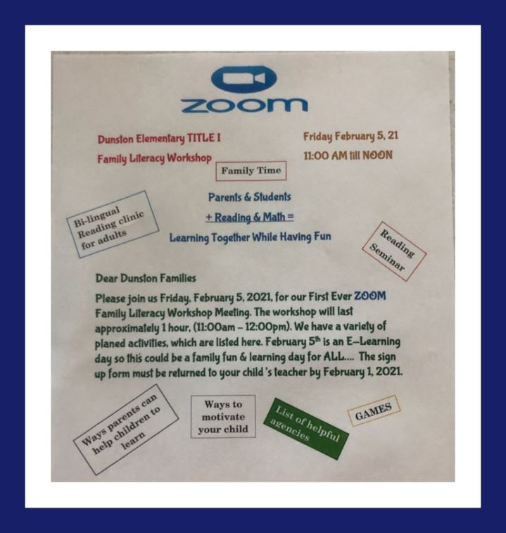 Parent Literacy Zoom