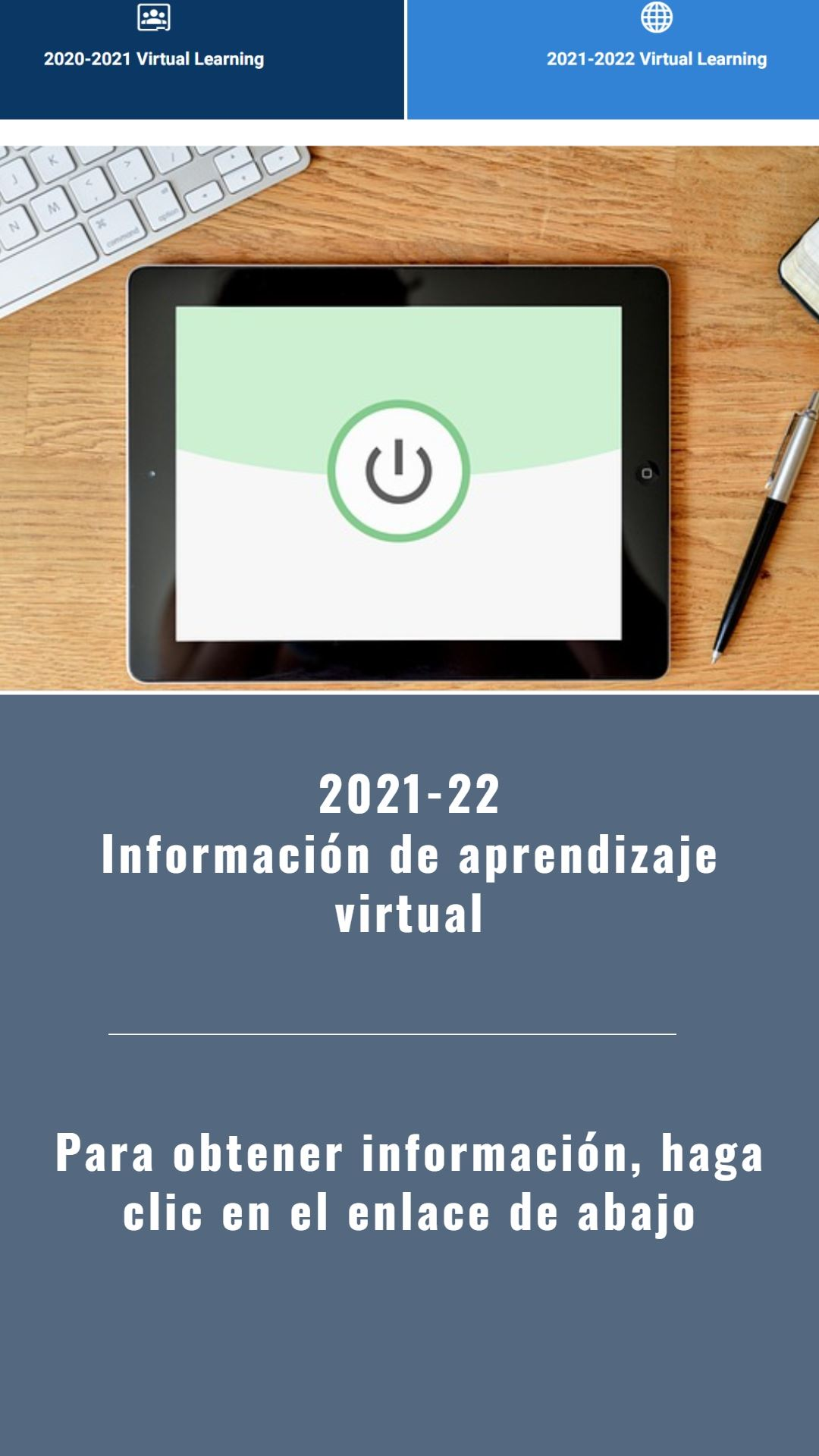 Spanish information on Virtual Learning