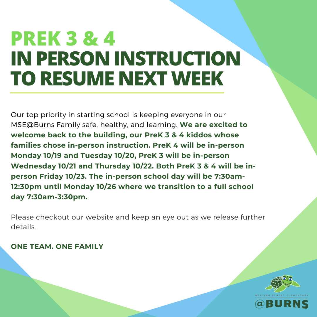 PreK 3 & 4 In-person Instruction