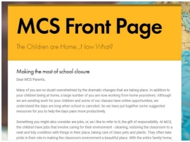 MCS Front Page beginning with letter from the principal