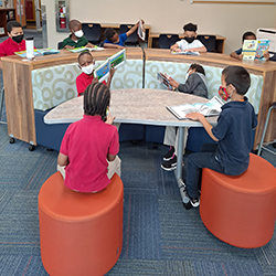 students use the new library furniture