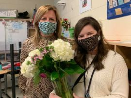 picture of Mrs. Goodale and Mrs. Nicodin with flowers