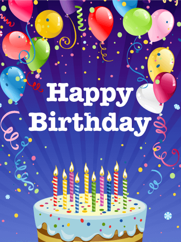 A happy birthday poster with cake and candles
