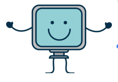 Image of computer with hands and a smiley face on the screen