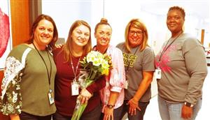 Mrs. Cleavenger with fourth grade teachers