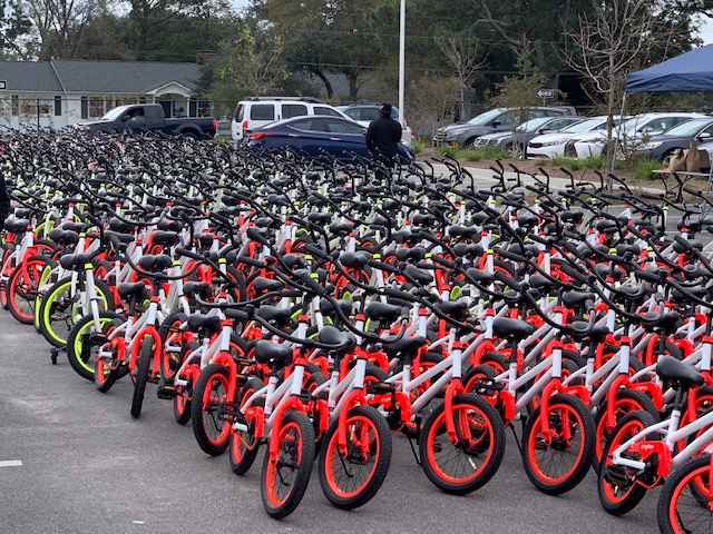 Parking lot full of brand new bikes