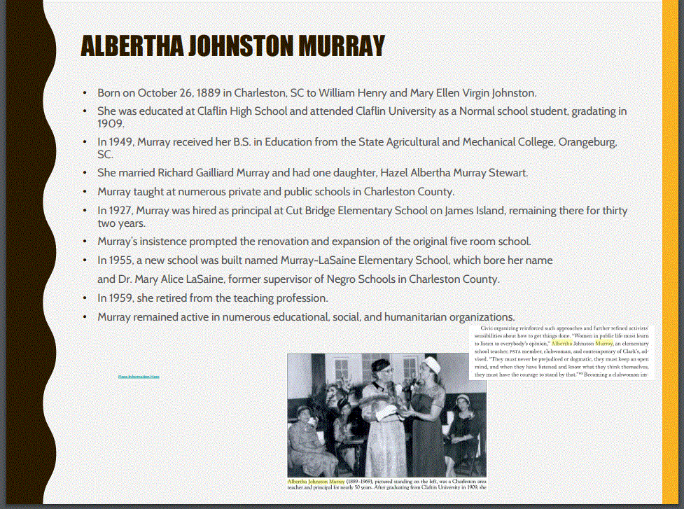 Image and bio of Albertha Johnston Murray